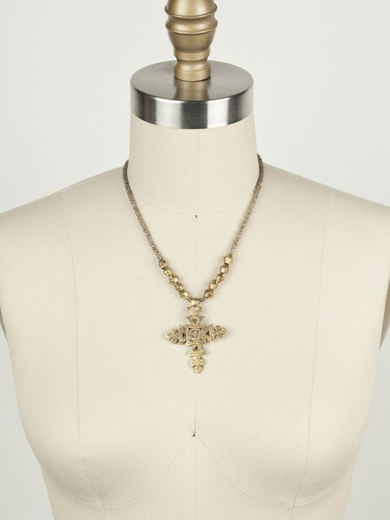 Brass Coptic cross with trade beads