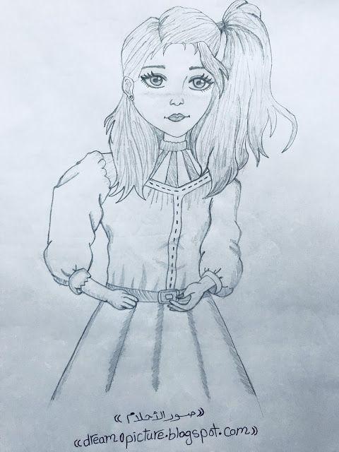 صور رسمه انمى جميله بالرصاص Sketches Female Sketch Humanoid Sketch