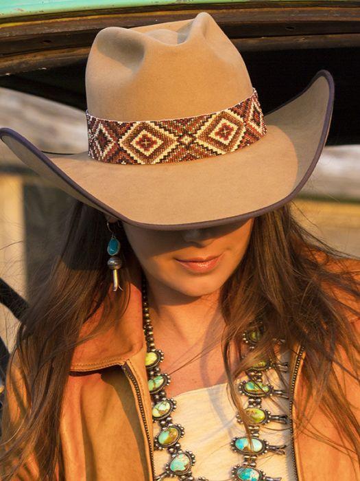 Brit West Aqua Ultra Hatband Hat Band Beaded Hat Bands Beaded Hatband