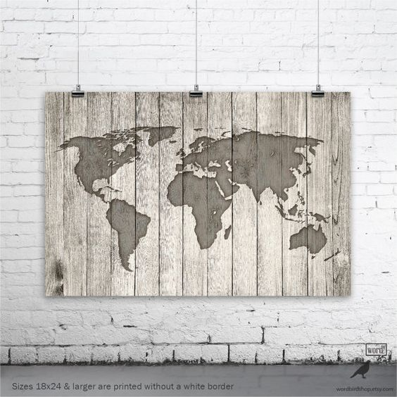 Rustic World Map Poster Vintage Map of the World por WordBirdShop