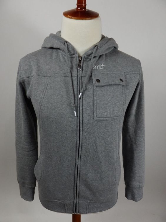 Smith Optics Hoodie Full Zip Sweater Solid Gray Men Long Sleeve Slim Fit Large L #SmithOptics #Hoodie