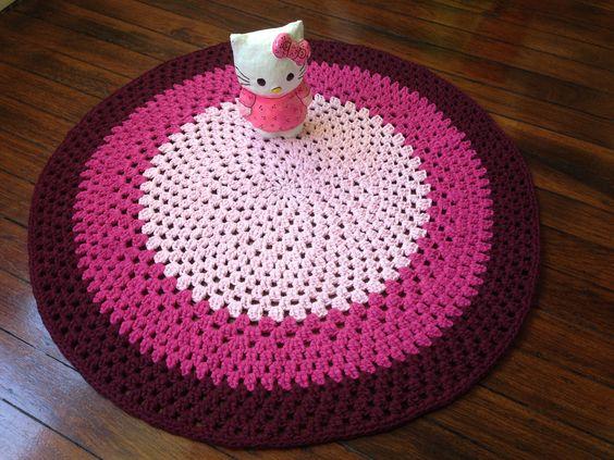 Granny Crochet rug - Pink - Raspberry - Bordeaux