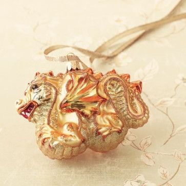 East-Meets-West Golden Dragon asian holiday decorations