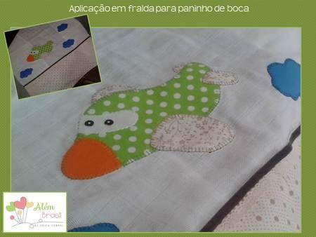 Aplicação em tecido de fralda para paninho de boca - avião - Além Brasil