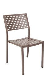 The Halsted outdoor aluminum chair features: - durable aluminum frame for outdoor home or restaurant use - powder coating in rust color - open back - perforated back and seat.