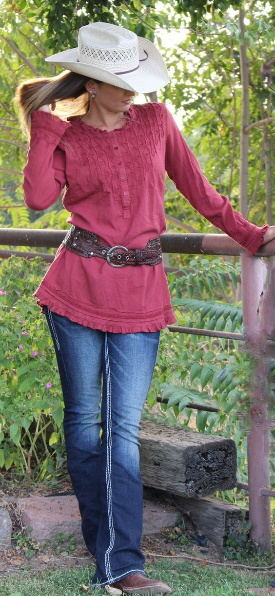 A Cowgirl's Promise LLC Store - Gretty Zueger Long Sleeve Copper-Pomegranate…
