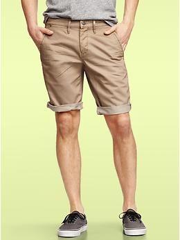 Shorts for summer. 1969 denim-washed khaki roll up short | Gap ...