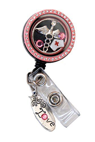 Amazon.com : Floating Charm Locket ID Badge Holders (Nurse Hat/Medicine Sign Floating Charms) : Office Products