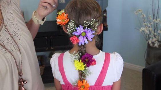 penteado infantil flores rapunzel - Pesquisa Google