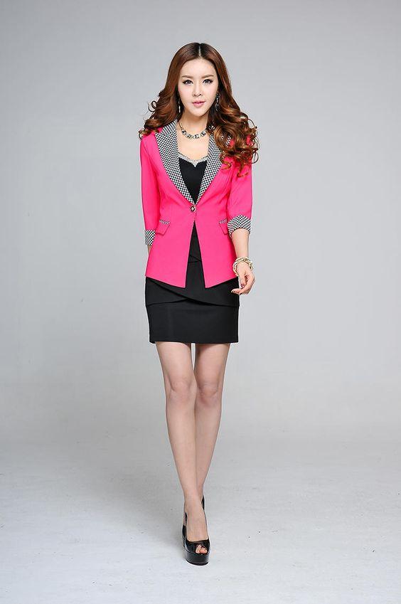 Plaid Collar 3/4-Sleeve Blazer - Caroe | YESSTYLE