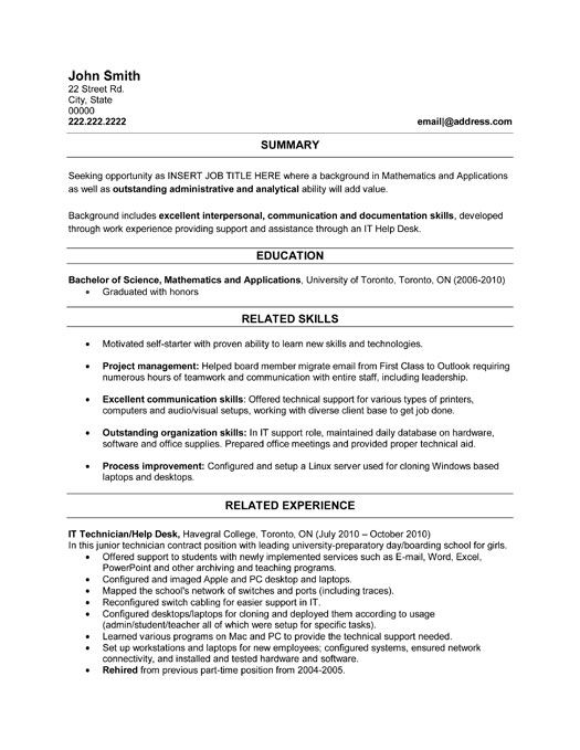 resume for computer hardware technician
