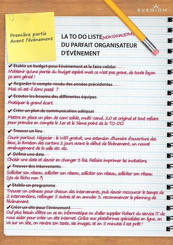 La To Do Liste Du Parfait Organisateur D Evenement Blog Evenium Organisateur Evenementiel Marketing De L Entreprise Organisation Evenement
