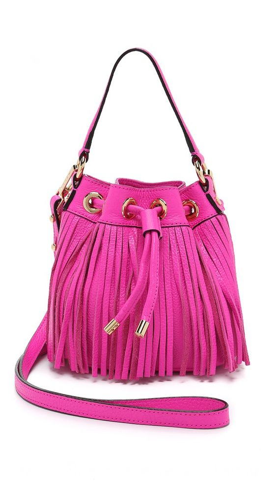 Milly Essex Small Fringe Bucket Bag - Pink