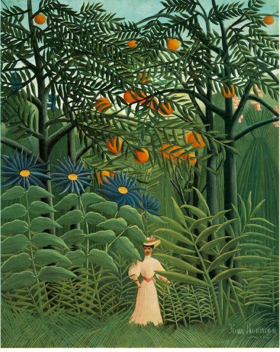femme se promenant dans une forêt fanstastique by henri rousseau