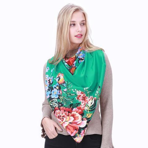 Women/'s Floral Soft Silk Scarf Large Colorful Summer Shawl Beachwear Bandana NEW