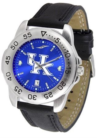 Kentucky Wildcats Sport AnoChrome Men's Watch with Leather Band by SunTime. $56.95. This handsome, eye-catching watch comes with a genuine leather strap. A date calendar function plus a rotating bezel/timer circles the scratch-resistant crystal. Sport the bold, colorful, high quality NCAA Kentucky Wildcats logo with pride.The AnoChrome dial option increases the visual impact of any watch with a stunning radial reflection similar to that of the underside of a CD. Perceived valu...