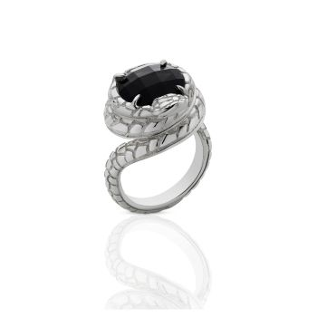 Serpent Cocktail Ring Sterling Silver onyx by Meadowlark