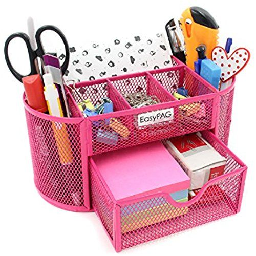 Easypag Mesh Desk Organizer Pencil, Pink School Desk Organizer