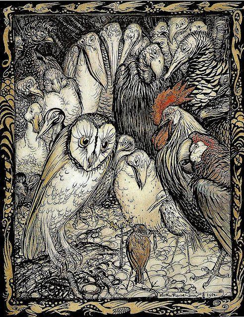"""""""The Owl and the Birds"""" by Arthur Rackham, 1912"""