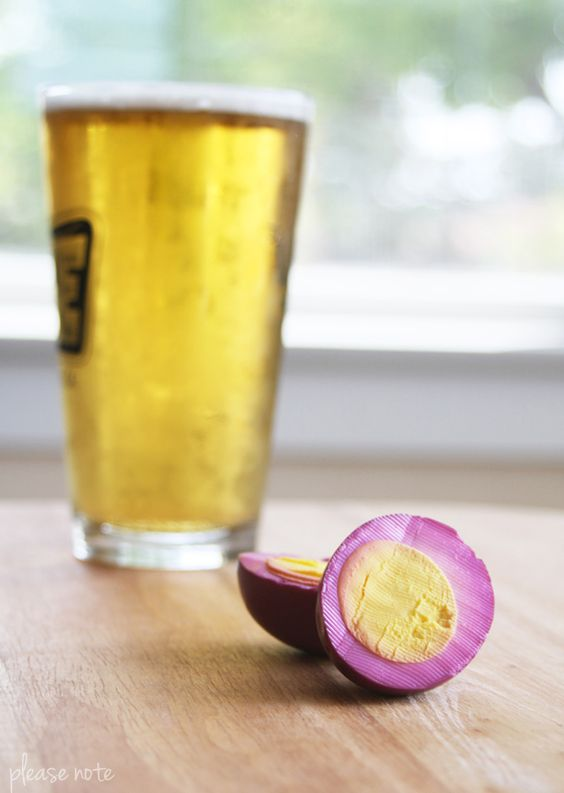 purple pickled eggs.