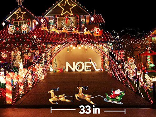 Glittered Christmas Lighted Up Window Decoration 20 Lights Double Side Lighted Glimmer Glow Frame Sculpture 33 Christmas Lights Glitter Christmas Window Decor