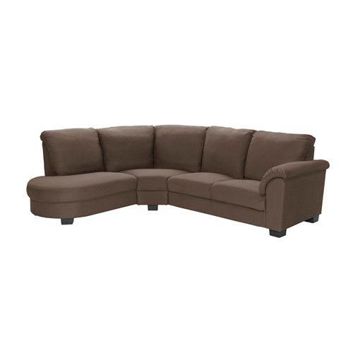 IKEA - TIDAFORS, Sofá esquiina&reposabrazos derecho, Dansbo marrón, , El respaldo alto proporciona un buen apoyo al cuello.Cojines de asiento de espuma fría con capa superior de espuma viscoelástica que se adapta al contorno corporal y recupera la forma cuando te levantas.La amplitud y las formas redondeadas de la sección de esquina crean un espacio cómodo para sentarse.El grueso acolchado de los reposabrazos te permite recostarte cómodamente.Funda de algodón y poliéster con textura y suave…