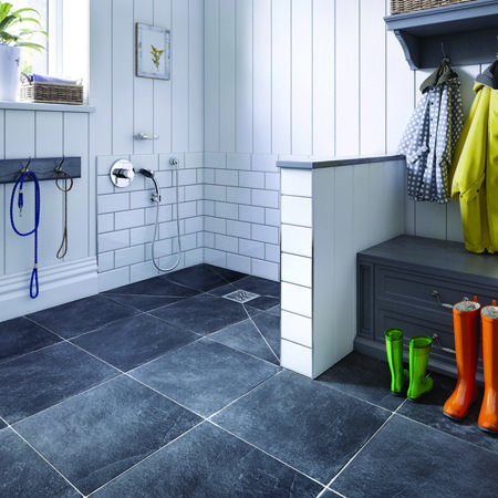Create the ultimate utility/wash room with this stylish use of an Aqua-Dec EasyFit. Perfect for washing the dog. #wetrooms #wetroom: