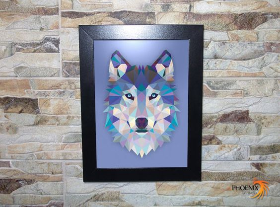 #Animal #Wolf #Wooden #Frame by #inPhoenixArt on #Etsy #WildLife #Husky #BlueEyes #Howl #Howling #AlphaMale #Gifts
