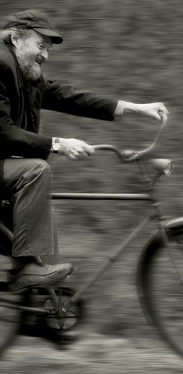 Arvo Pärt riding a bicycle