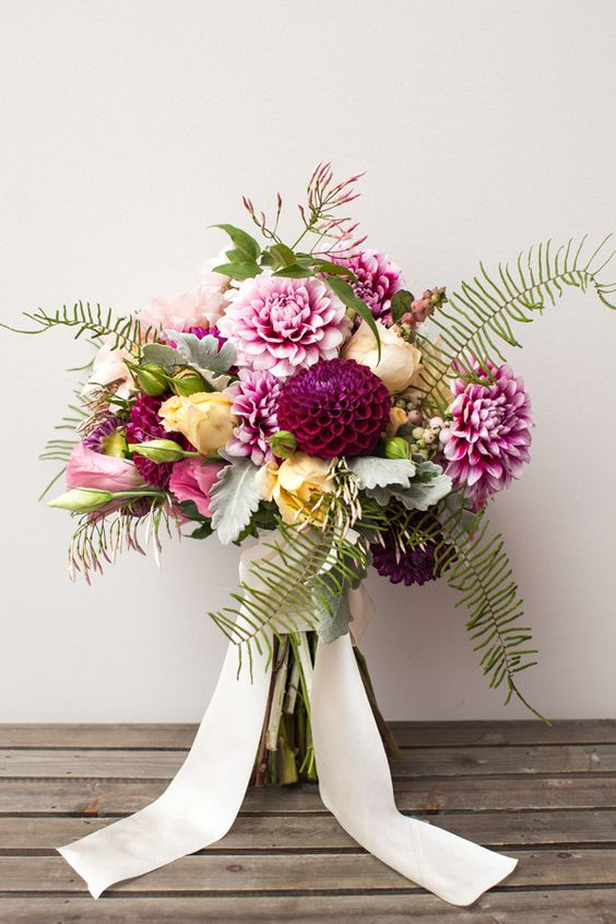 dahlia bouquet with feathery ferns
