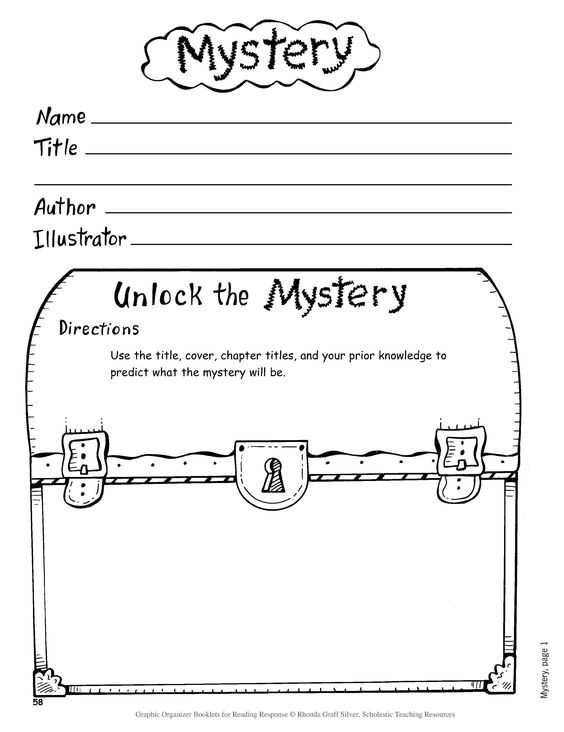 Book Jacket Graphic Organizer : Investigating the mystery genre scholastic school