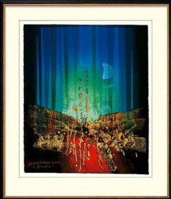 """""""Mondlichtfänger"""" - Limitierte Manugrafie von Reinhard Brandner: Original-Manugrafie 2002 mit Blattgoldunterlage, Auflage… #Malerei_Drucke"""