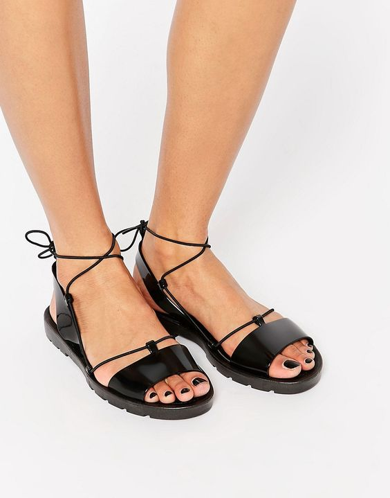Image 1 of ASOS FLUTTER Tie Leg Jelly Sandals