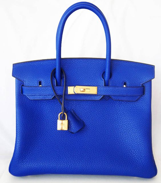 Authentic New Hermes Birkin 30 Cm Blue Electric Leather Bag Ghw