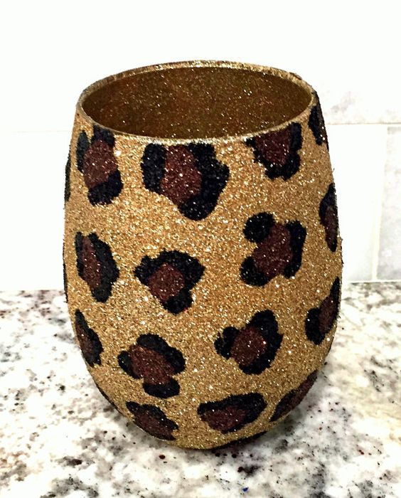 Stemless cheetah wine glass by GlittersGalore on Etsy