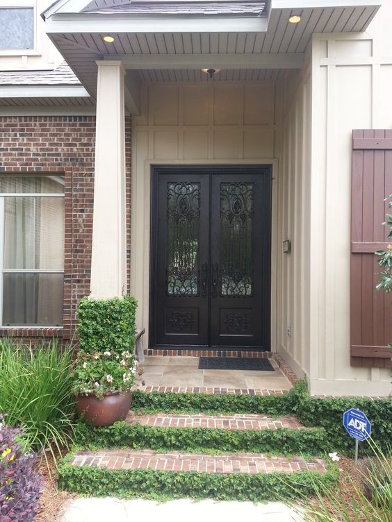 Another favorite custom wrought iron double front door for Double front doors for homes