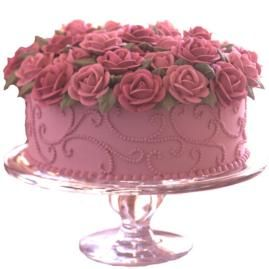 Brimming With Roses Buttercream Cake. The world's favorite flower is celebrated in all its glory, underscored with graceful dotted scrolls.