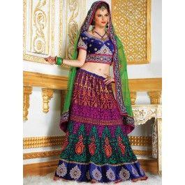 Buy Multi Color Velvet Lehenga Choli With Resham And Zari Work Designer Lehenga Online In India - saree.com