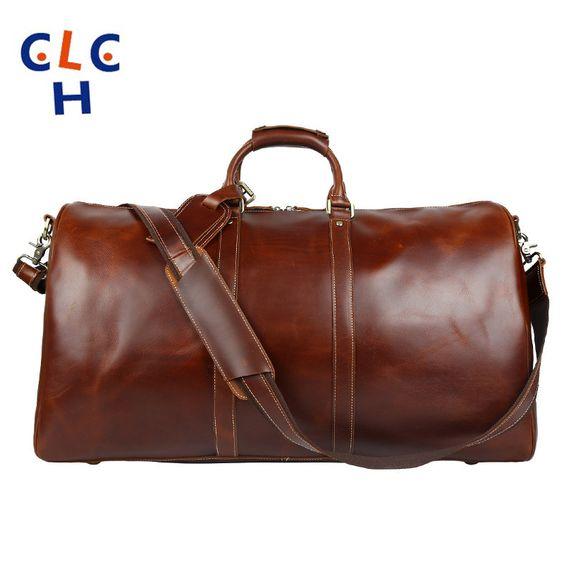 $174.31 (Buy here: http://appdeal.ru/dcag ) Genuine Leather Travel Bags Men Briefcase Men Big Bag Brown 2016 Handbag Retro Mens Waterproof Maletines De Cuero De Los Hombres for just $174.31