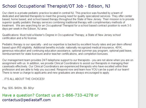 School Occupational TherapistOt Job  Edison Nj Our Client Is A
