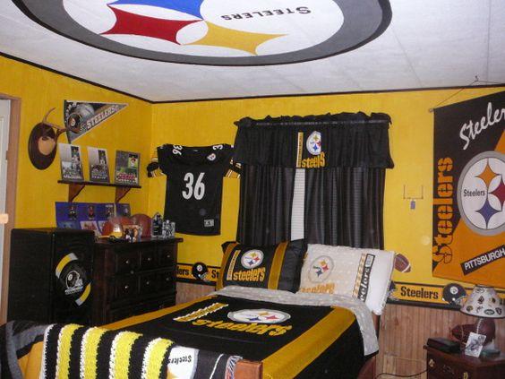 Pittsburgh steelers theme bedroom ideas room boys 39 room designs decorating ideas for Pittsburgh steelers bedroom slippers