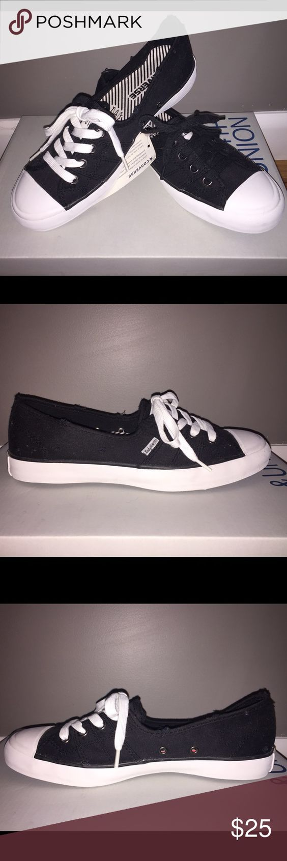 Converse Sneaker Black LADY converse sneaker. Slightly thinner sole and shorter front than regular converse. Includes both black and white laces. New, no tags. Converse Shoes Sneakers