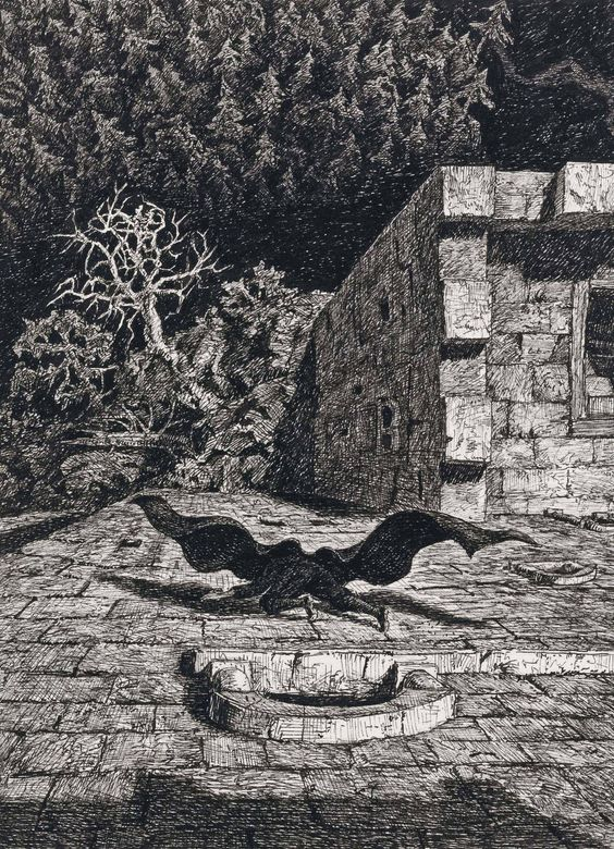 Fritz Schwimbeck (1889-1972) Dracula 1917 (16 x 22 cm):