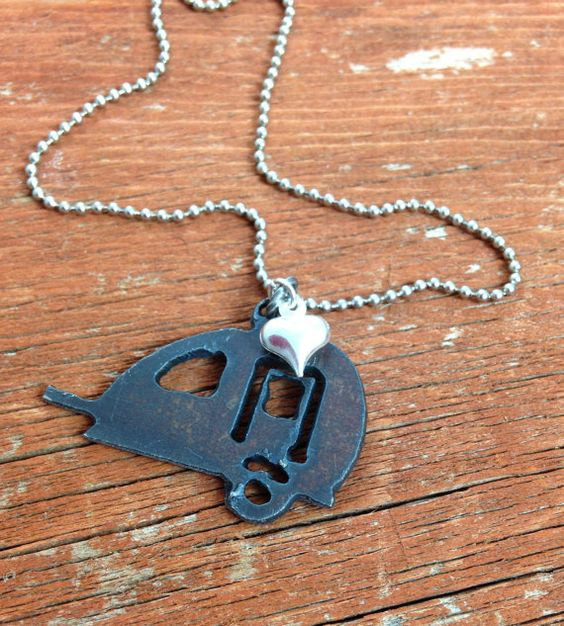 Happy Camper Necklace  SMALL Rustic Recycled Pendant by DuctTapeAndDenim #HappyCamper #HappyGlamper #glamper #glamping #camp #vintage #teardrop #travel #trailer #heart #charm