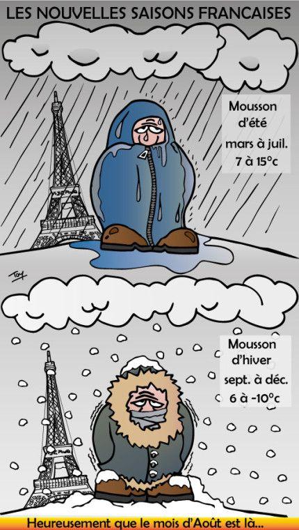La France n'a plus que 2 saisons, la mousson d'été et la mousson d'hiver et un mois d'août ensoleillé...  #France #meteo #saison #pluie #neige