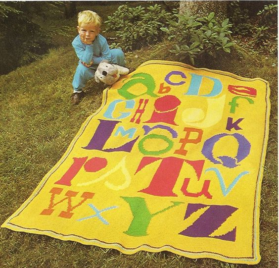 """ABC Alphabet Afghan Crochet Pattern Children Throw Blanket Home Decor 51"""" x 66"""" by PatternMania3 on Etsy"""