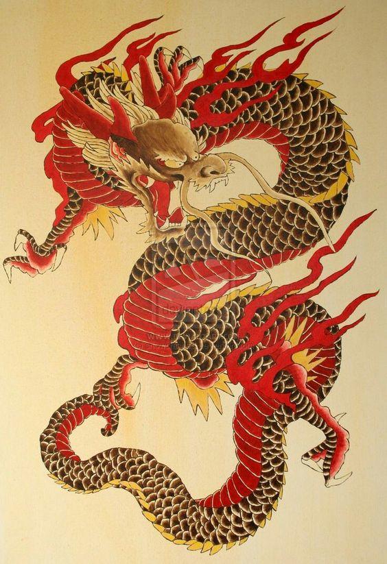 炎をまとう赤龍の壁紙