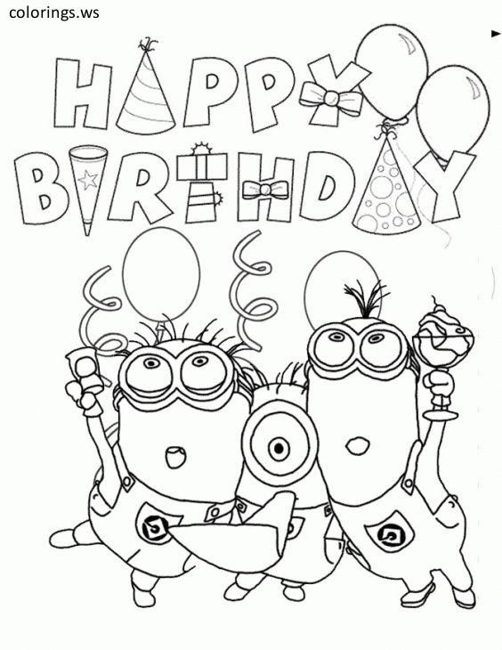Happy Birthday Minions And Balloons Coloring Page Happy Birthday