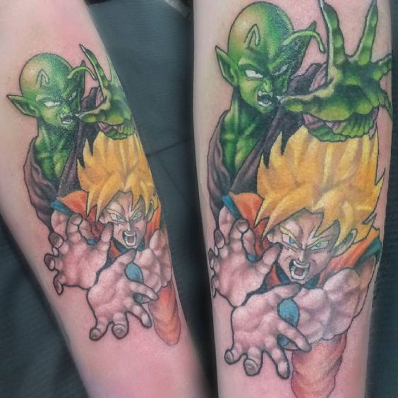 S'more Dragonball Z goodness. Tien is being added next to this half-sleeve. ~ #dragonballz #dragonballztattoo #dbz #dbztattoo #tattoo #anime #saiyan #supersaiyan #goku #piccolo #ressurrectionf #vgta2 #gamerink