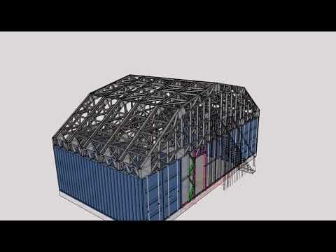 Gambrel Style Container Lsf Roof Structure Youtube In 2020 Gambrel Style Roof Structure Gambrel